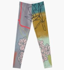 Abstract Lily Flower Painting Leggings