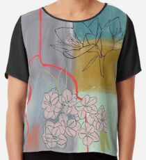 Abstract Lily Flower Painting Chiffon Top