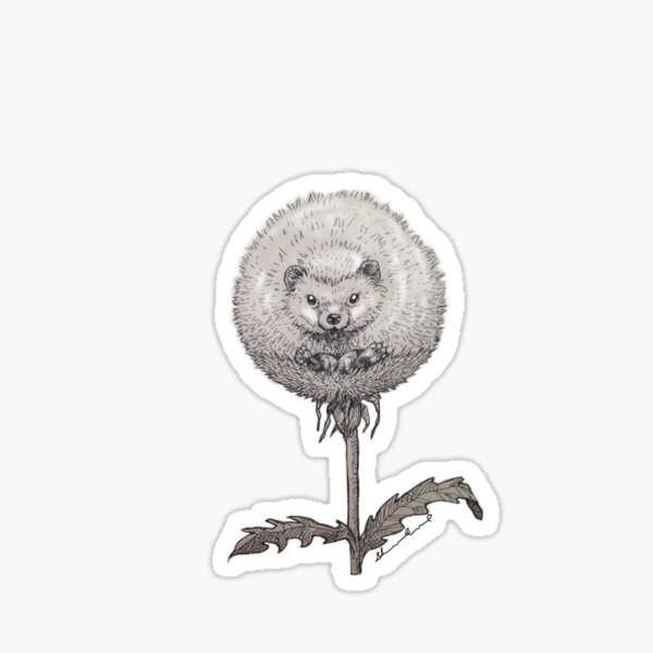 Hedgehog Garden Dandelion Sticker