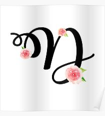 Monogram D with pretty pink roses Poster