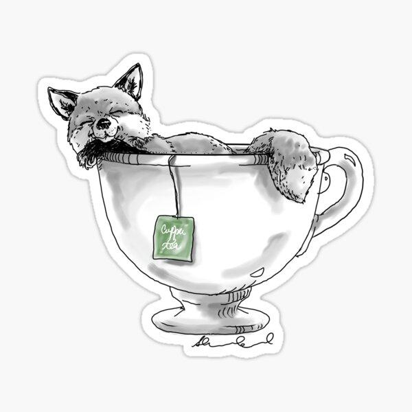 Teacup Fox Sticker