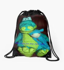 Dino and cat congratulate you on the new baby Drawstring Bag