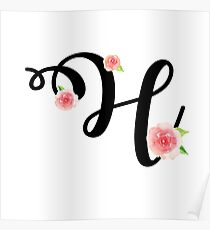 Monogram H with pretty pink roses Poster