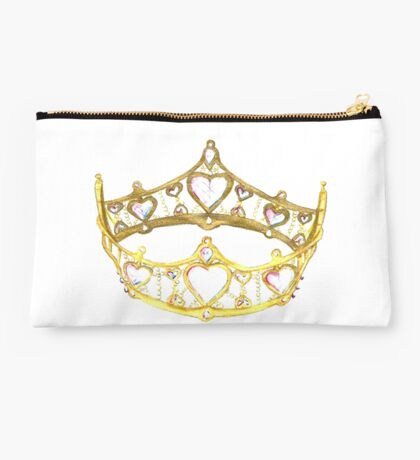Queen of Hearts gold crown tiara by Kristie Hubler Studio Pouch