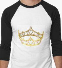 Queen of Hearts gold crown tiara by Kristie Hubler Men's Baseball ¾ T-Shirt