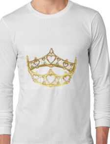 Queen of Hearts gold crown tiara by Kristie Hubler Long Sleeve T-Shirt