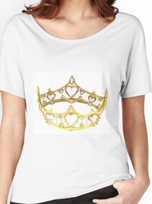 Queen of Hearts gold crown tiara by Kristie Hubler Women's Relaxed Fit T-Shirt