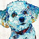 Small Dog Art - Who Me? - Sharon Cummings Artist by Sharon Cummings