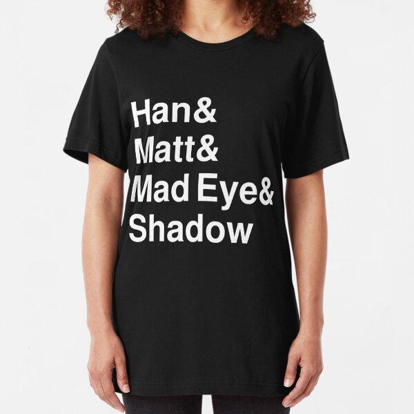 Han & Matt & Mad Eye & Shadow white Slim Fit T-Shirt