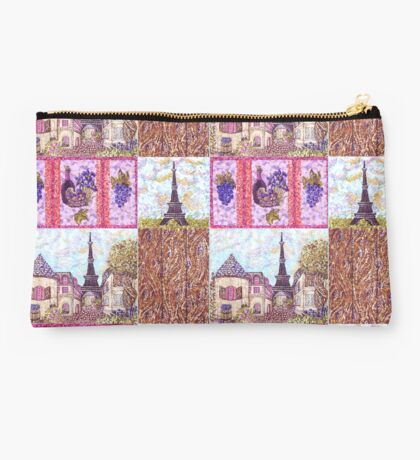 Paris Inspired Pointillism Grapes Wine Wood by Kristie Hubler Studio Pouch