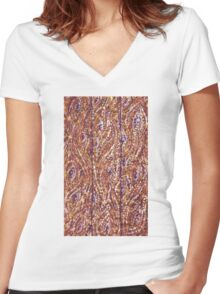 Wood Planks Pointillism by Kristie Hubler Women's Fitted V-Neck T-Shirt