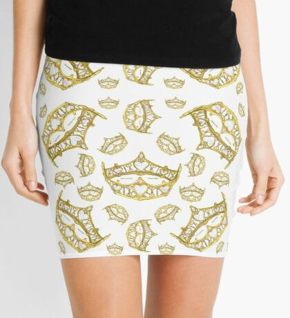 Queen of Hearts gold crown tiara tossed about by Kristie Hubler Mini Skirt