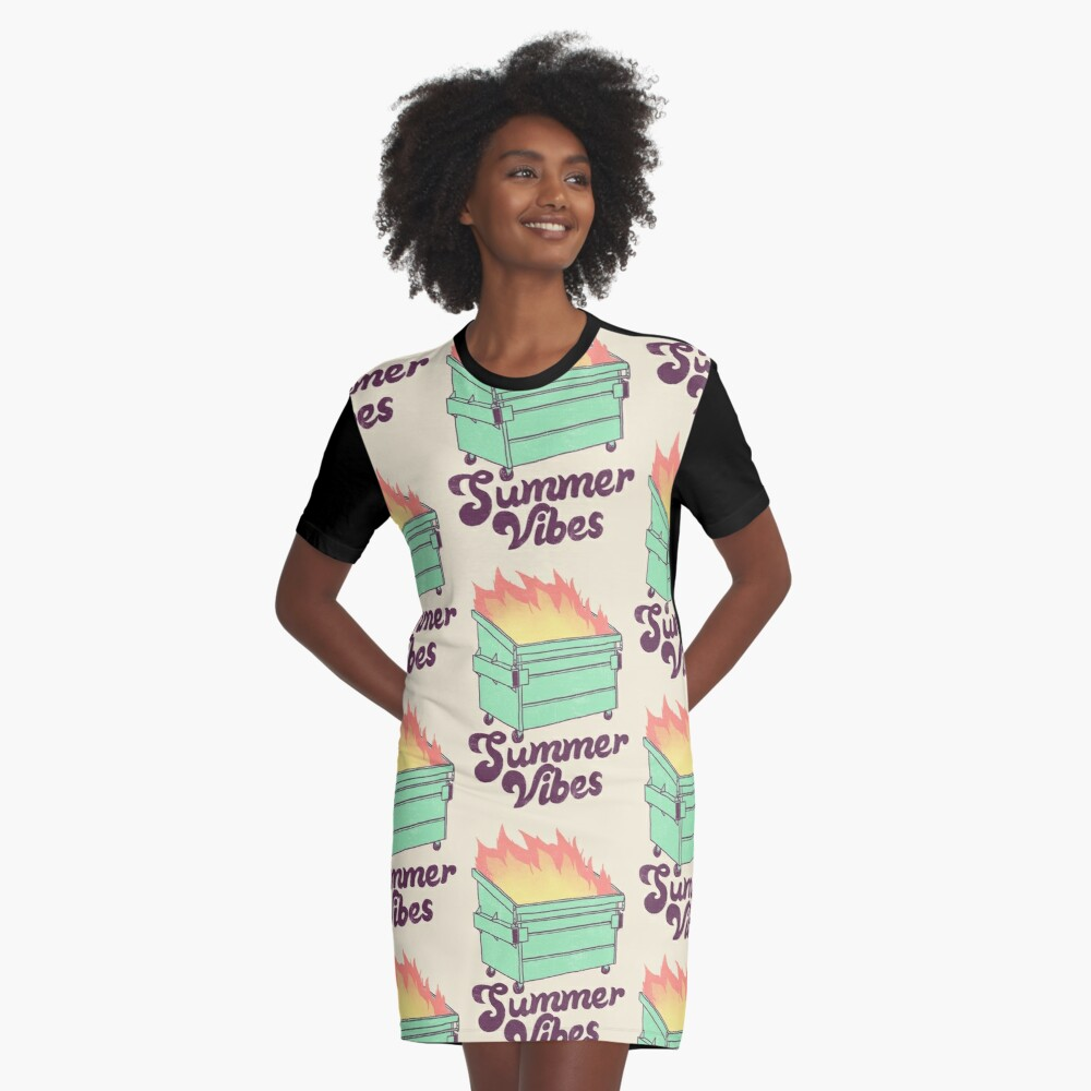 Summer Vibes Graphic T-Shirt Dress