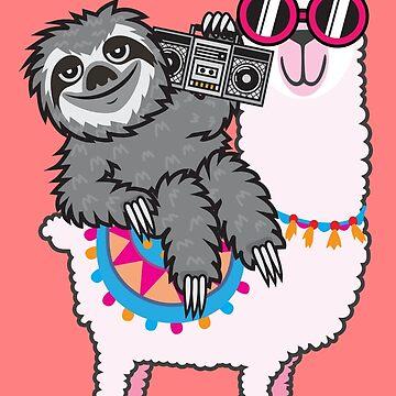 Sloth Music Llama by plushism