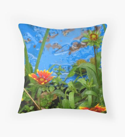 Flower and Water Throw Pillow