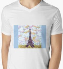 Eiffel Tower Pointillism by Kristie Hubler Men's V-Neck T-Shirt