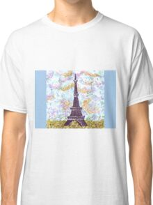 Eiffel Tower Pointillism by Kristie Hubler Classic T-Shirt