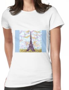 Eiffel Tower Pointillism by Kristie Hubler Womens Fitted T-Shirt