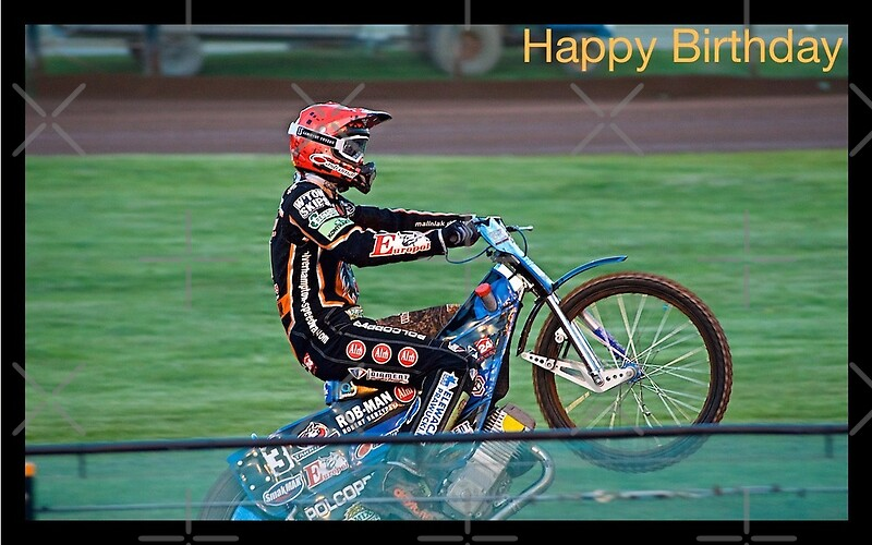Speedway rider Birthday card Greeting Cards by ejrphotography – Motocross Birthday Cards