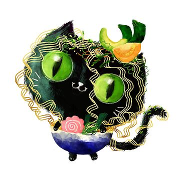 Cute Black Cat in Halloween Ramen Costume by colonelle