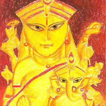 Goddess Durga(Parvati) and Ganpati by tridibghosh