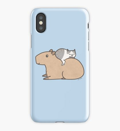 Capybara with Kitty Cat Friend iPhone Case