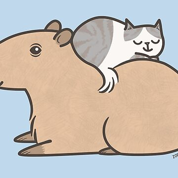 Capybara with Kitty Cat Friend by zoel