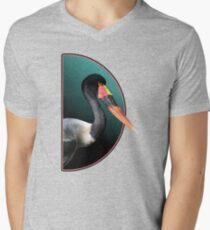 Saddle-Billed Stork Portrait V-Neck T-Shirt