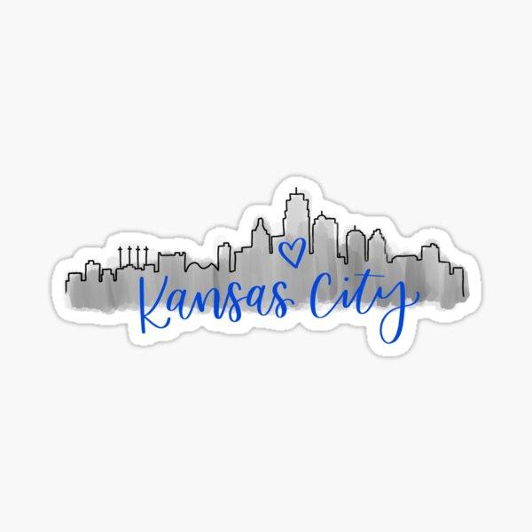 Kansas City Skyline Blue Sticker