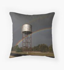 Twin Rainbows Over The Water Tower Throw Pillow
