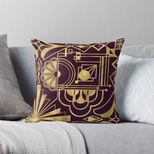 1920's Art Deco inspired gold pattern Throw Pillow