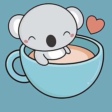 Kawaii Cute Koala Loves Coffee by happinessinatee
