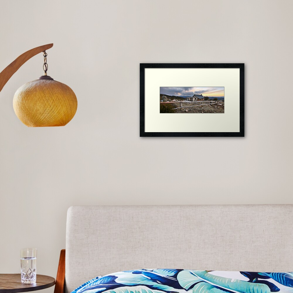 Craig's Hut Winter Evening, Mt Stirling, Australia Framed Art Print