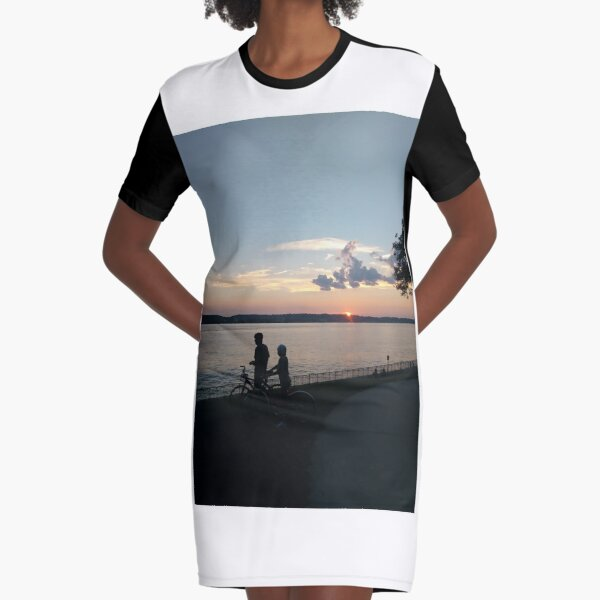 Sunset, New York, New York City, Brooklyn, #NewYork, #NewYorkCity, #Brooklyn, Verrazano Narrows Bridge, #VerrazanoNarrowsBridge, #VerrazanoBridge, #bridge, #Verrazano, #Narrows, #Sunset Graphic T-Shirt Dress