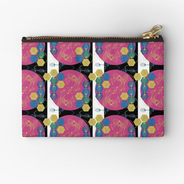 Kabuki Kingdom - Fish on Black Zipper Pouch