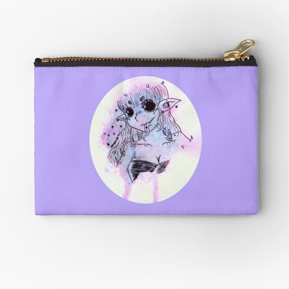 Anime Alien Girl watercolor pastel galaxy alien girl | zipper pouch