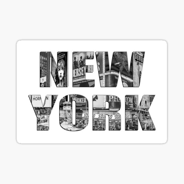 New York (b&w photo filled flat type on white) Sticker