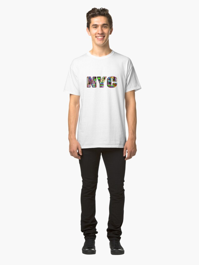Alternate view of NYC (neon glow type on white) Classic T-Shirt