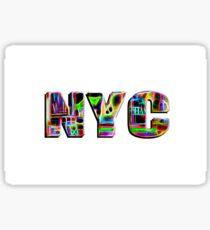 NYC (neon glow type on white) Sticker