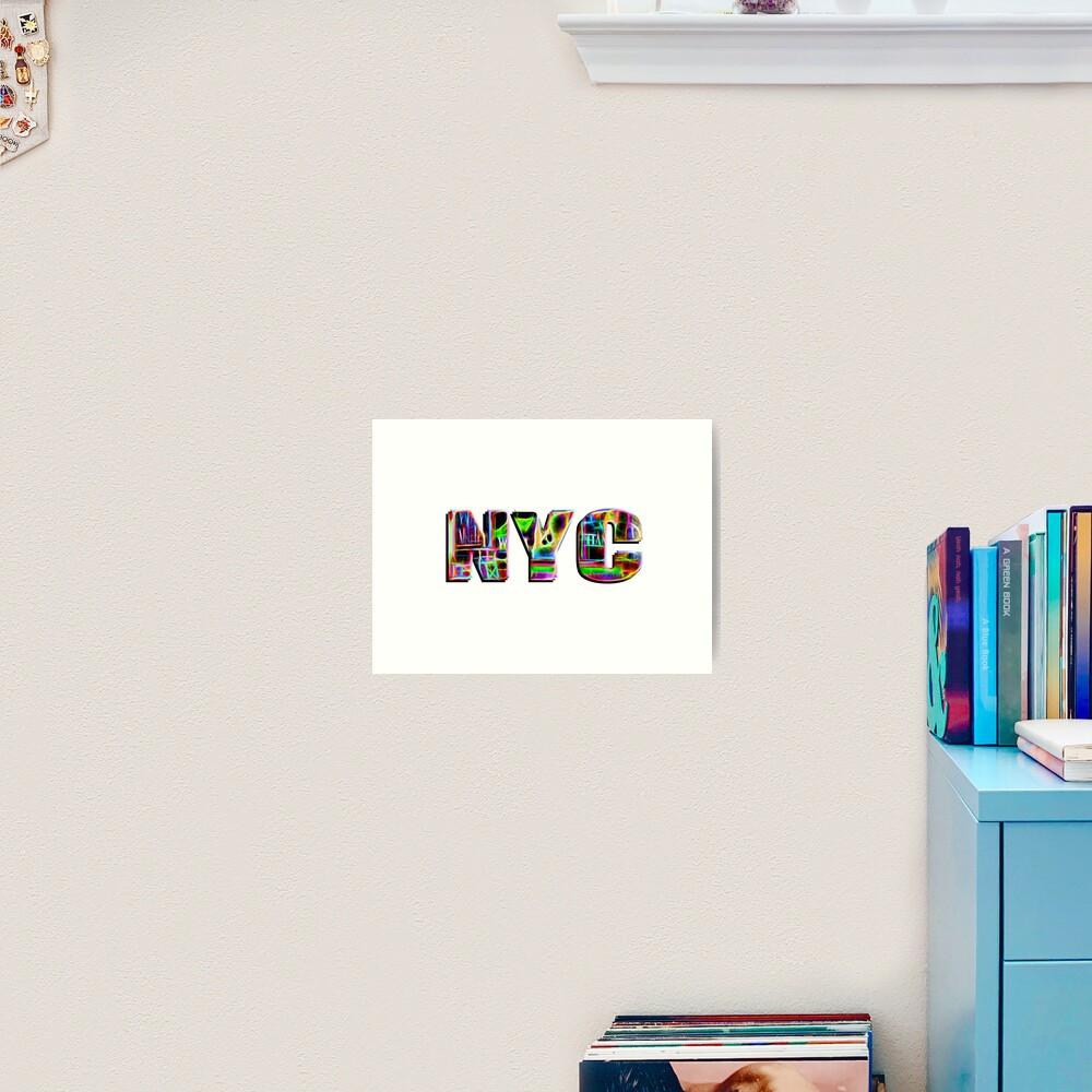 NYC (neon glow type on white) Art Print