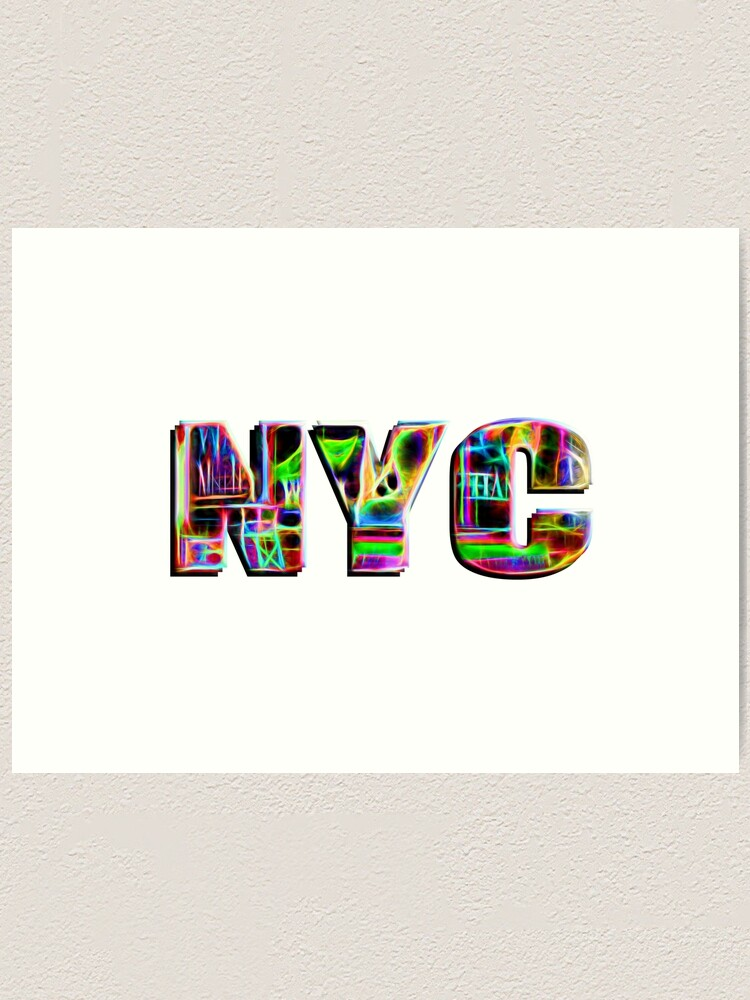 Alternate view of NYC (neon glow type on white) Art Print