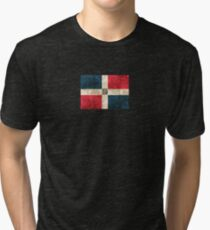 Vintage Aged and Scratched Dominican Republic Flag Tri-blend T-Shirt