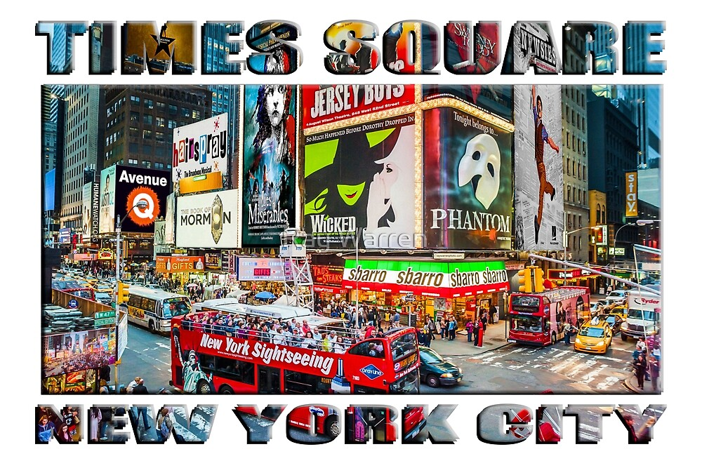Times Square New York City (widescreen poster on white) by Ray Warren