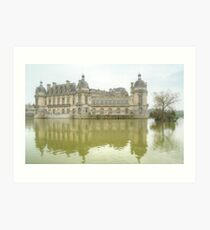 Reflecting On Chateau De Chantilly Art Print