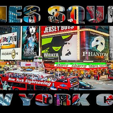 Times Square New York City (widescreen poster on black) by RayW