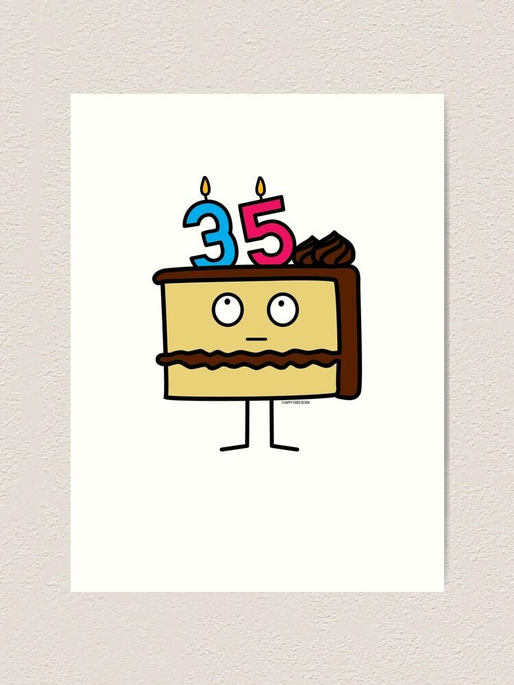Strange 35Th Birthday Cake With Candles Icing Dessert 35 Art Print By Funny Birthday Cards Online Hetedamsfinfo