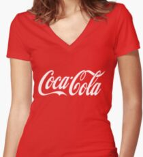 Coca Cola Logo Women's Fitted V-Neck T-Shirt