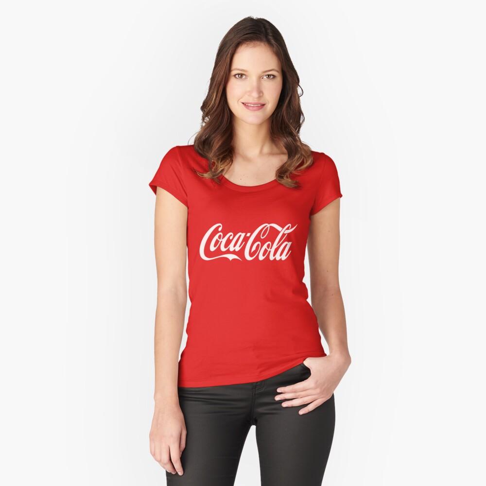 Coca-Cola-Logo Tailliertes Rundhals-Shirt