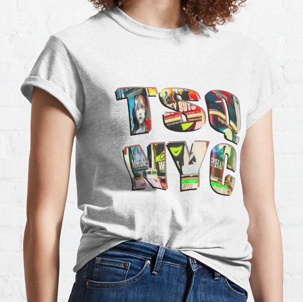 TSQ NYC, Times Square New York City (photo filled type on white)  Classic T-Shirt