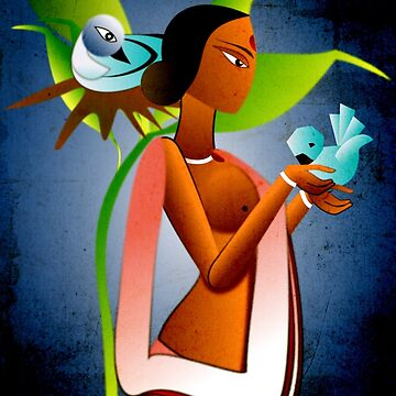 Shanti with her Birds by tandoor